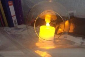 Стеклянный шар со свечей 10/10 см 20 шт. 30 грн.